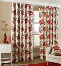 RING TOP - RED BEIGE TOKYO FLOWER CURTAINS IN A CHOICE OF 8 SIZES LATEST RANGE
