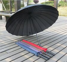 Men & Women New 24k Large Umbrella Long handle UV parasol Strong Windproof s59