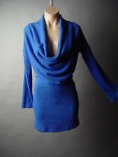 Blue Draping Slouchy Cowl Neck Cozy Knit Women Jumper Sweater 04 mv Dress S M L