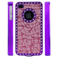 Apple iPhone 5 5S Gem Crystal Rhinestone Dark Pink Glitter Shatter Plastic case