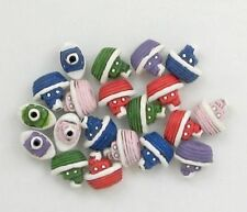 "Hand Painted Ceramic Beads, 5/8"" Tugboat, Assorted Colors Design, New"