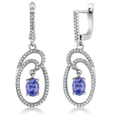 2.94 Ct Stunning Oval 7x5mm Natural Blue Tanzanite 925 Silver Dangle Earrings