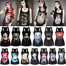 Sexy Women 3D Digital Print Vest Tank Top Gothic Punk Rock Sleeveless Tee Shirts