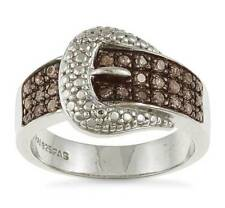 Cute! .925 Sterling Silver Chocolate Brown Diamond Belt Buckle Ring - .25ct
