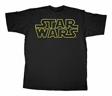 Star Wars Classic Yellow Outline  Movie Logo Adult T-Shirt - Black