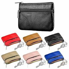 Soft Men Women Card Coin Key Holder Zip Genuine Leather Wallet Pouch Bag Purse