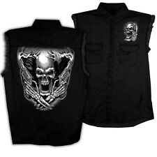 Assassin SLEEVELESS DENIM Black Shirt Motorcycle Chopper Biker Sniper Skull Guns