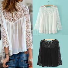 2015 Plus size Women Ladies Casual Lace Shirts Chiffon Blouse T Shirt Tops S-XXL
