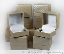 100 PCS WHOLESALE LOT OF RING GIFT BOXES JEWELRY SUPPLIES BEIGE PATTERNED