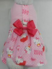 DOG CAT FERRET Harness Dress~Teacup HELLO KITTY Theme Polka Dot w/ PINK Bow