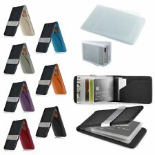 Mens Genuine Leather Stainless Steel Money Clip Bifold Wallet Credit Card Holder