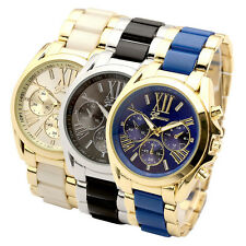 Mens Women Unisex Geneva Roman Numerals Stainless Steel Quartz Wrist Watch Gift