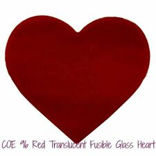 Spectrum 96 Precut Glass Heart Red Translucent Fusible Glass Choice of Sizes