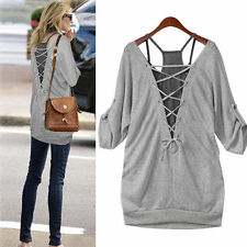 2 in 1 Women Loose Casual Cotton Long Sleeve T Shirt Vest Hollow Blouse Gift New