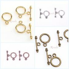 30 Sets Zinc Alloy Silver/Golden/Copper/Bronze Tone Round Toggle Clasps Finding