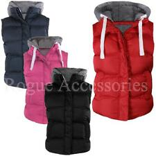 Jersey Lined Hooded Quilted Padded Bodywarmer Gilet Sleevless Jacket Womens Size