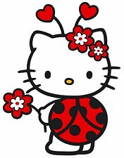"6.5-10.5""  HELLO KITTY LADYBUG  WALL STICKER GLOSSY BORDER CHARACTER CUT OUT"