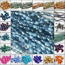 100pcs Cut Glass Crystal Teardrop DIY Craft Charm Loose Spacer Beads 8x12mm