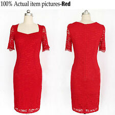 Womens Floral Lace Long Pencil Ladies Bodycon Formal Evening Dress Size 10-18