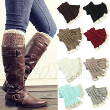Cute Lady's Crochet Knitted Lace Trim Boot Cuffs Toppers Leg Warmers Winter Sock