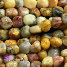 """Natural Genuine Yellow Crazy Lace Agate Nugget Loose Beads Free Form 16"""""""