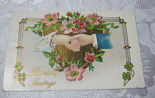 MANY HAPPY RETURNS OF THE DAY VICTORIAN ANTIQUE POSTCARD    T*