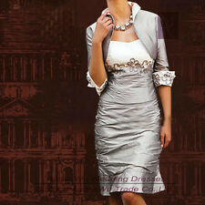 New Knee Length Mother of the Bride dress Evening Formal Dresses free Jacket