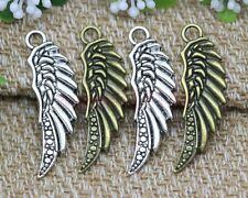 20pcs Antique Silver/Bronze Bird Wings Charms Pendant Fit DIY Making 39x13mm