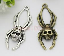 10pcs Antique Silver/Bronze spider skeleton blame DIY Charms Pendant DIY 40x16mm