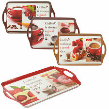 Coffee Style Melamine Serving Tea Sandwich Biscuit Snack Tray Trays With Handles