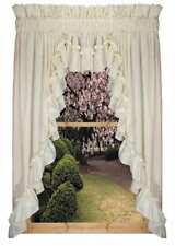 Priscilla Ruffle 3pc Swag Set White or Natural 132 x 63 Country Ruffle Curtains