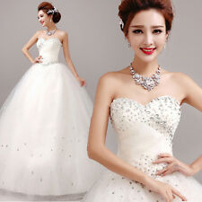 White Strapless Wedding Dress Bridal Gown Lace Up Skirt A-line Diamante Y188H