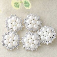 5* Charming Rhinestone Faux Pearl Silver Tone Round Flower Shank Button Sewing