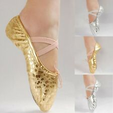 16 Sizes Girls Womens Adult Ballet Dance Shoes Pointe Gymnastics Sequins Leather