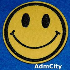 Smiley Yellow Smile Happy Face Retro Applique Iron on Sew Patch Biker Embroidery