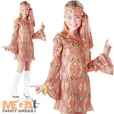 Disco Dolly Girls 60s-70s Fancy Dress Kids Teen Hippy Hippie Costume Outfit New