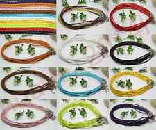 10/100pcs Man-made Leather Braid Rope Hemp Cord For Necklace Lobster Clasp 46cm