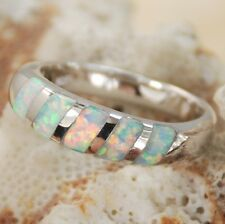 BEAUTIFUL WHITE FIRE OPAL SILVER RING SIZE (6,7,8,9 ) R8447