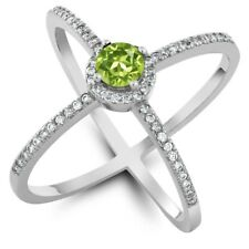 1.42 Ct Round Green Peridot 925 Sterling Silver Ring