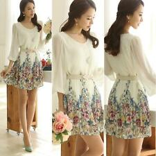 Slim Woman Mature Floral Print Pleated Round Neck Dress with Belt White SSUS
