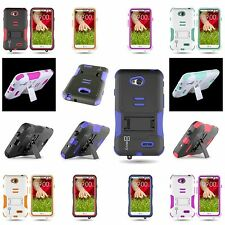 Hybrid Kickstand Case Hard / Soft Kickstand Cover for LG Optimus L70 / Exceed 2