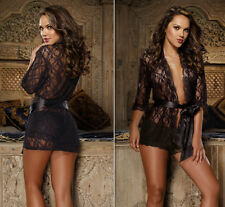 Sexy Womens Black Lace Lingerie Night Gown Babydoll Short Robe Underwear S/M-4XL