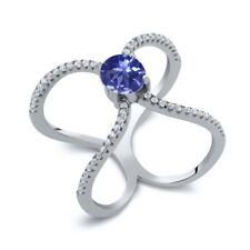 1.48 Ct Round Blue Tanzanite 925 Sterling Silver Ring