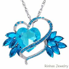 New Large Heart Wing Crystal Rhinestone Pendant Necklace Chain Jewelry Gift