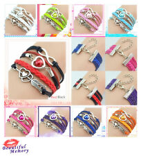 New Sail Infinity Love Heart  Friendship Antique Silver Leather  Charm  Bracelet