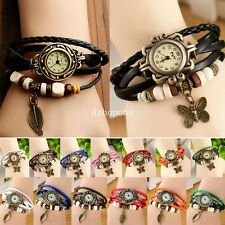 Womens Women Fashion Retro Butterfly Leaf Bracelet Watch Quartz Leather Wrist