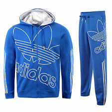 adidas ORIGINALS MENS BLUE FLEECE SIZE S M TRACKSUIT TREFOIL 3 STRIPES