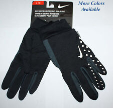 Nike Men's Black/Gray Lightweight Run Gloves Size Choices ** REDUCED