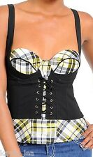 Black Plaid Lace-Up Cincher Smocked Corset/Bustier/Tube/Cami Top S/M/L