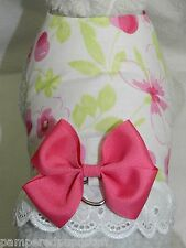 DOG CAT FERRET Travel Harness~Perfect Party Outfit Linen Flower Tulip BOW & LACE